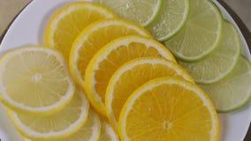 Verse citrusvruchten Spinnende gesneden sinaasappelen, kalk, citroen, stock videobeelden