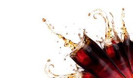 Verse cokesachtergrond met plons Royalty-vrije Stock Afbeeldingen