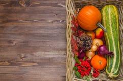 Verse de herfstgroenten in een mand Stock Foto's