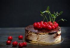 Verse de verjaardagscake van de kersenmelkchocola Stock Foto's