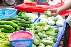 Verse die groenten, aan economische prijzen in de marktochtend worden verkocht, plantaardig van tuinman royalty-vrije stock fotografie