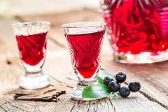 Verse die likeur van chokeberries en alcohol wordt gemaakt stock afbeelding
