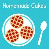 Verse eigengemaakte cakes op de plaat Stock Fotografie