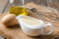 Verse eigengemaakte mayonaise Stock Foto