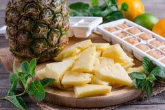 Verse en bevroren ananas op een scherpe raad stock fotografie