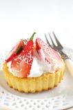 Verse en gezonde aardbeiencake Stock Foto