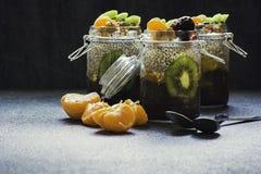 Verse en gezonde chiapudding in een kruik met vruchten en noten op de bovenkant stock foto