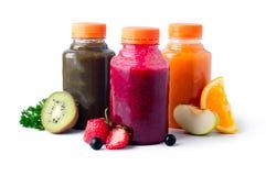 Verse en gezonde fruit groentesappen royalty-vrije stock foto's