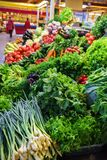 Verse en organische groenten bij landbouwersmarkt: raddish, tomaten, dille, salade, groene onoins, knoflook stock foto's