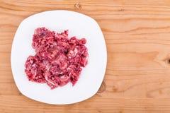 Verse en voedzame fijngehakte ruwe vleeshondevoer op plaat Stock Fotografie