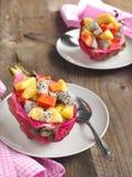 Verse fruitsalade in de huid van het draakfruit Royalty-vrije Stock Foto's