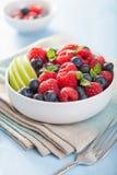 Verse fruitsalade met de appel van de frambozenbosbes royalty-vrije stock afbeeldingen