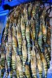 Verse garnalen op ijs in zeevruchtenmarkt Royalty-vrije Stock Afbeeldingen
