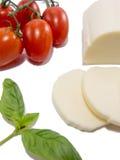 Verse geïsoleerd mozarellabasilicum en tomaat Royalty-vrije Stock Foto's