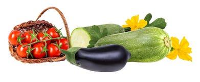 Verse geïsoleerde groenteaubergines, kersentomaten en merg Stock Afbeelding