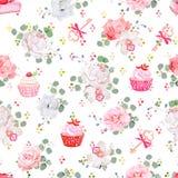 Verse gebakjes, boeketten van bloemen, sleutels met rode bogen en regenboog om de naadloze vectordruk van vlekconfettien vector illustratie