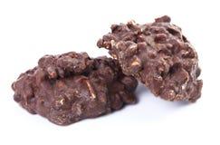 Verse gebakken drievoudige chocoladeschilferkoekjes Royalty-vrije Stock Foto