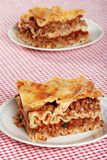 Verse gebakken lasagna's Stock Fotografie