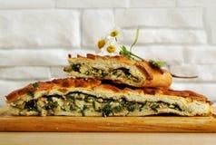Verse gebakken traditionele pastei met groene uien en eieren stock afbeeldingen