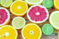 Verse gehakte plakken van verschillende types van citrusvrucht Royalty-vrije Stock Foto