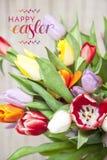 Verse gekleurde tulpen voor een houten achtergrond Royalty-vrije Stock Foto's