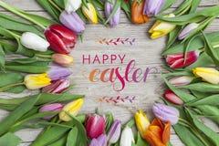 Verse gekleurde tulpen voor een houten achtergrond Stock Foto