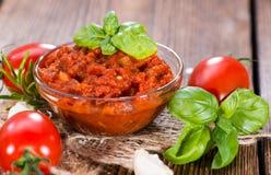 Verse gemaakte Tomatensaus Stock Foto