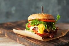 Verse geroosterde rundvleeshamburger en frieten Stock Afbeelding