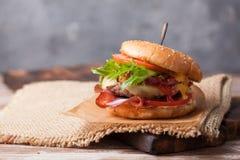 Verse geroosterde rundvleeshamburger en frieten Stock Foto