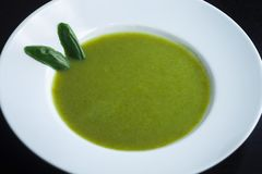 Verse gezonde groene soep Groentesoep met basilicum stock foto's
