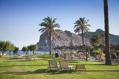 Verse gras, ligstoelen en palmen Een paradijs ter wereld Royalty-vrije Stock Foto