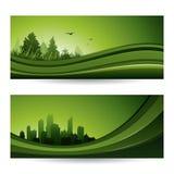 Verse groene abstracte aardbanner met bomen en cityscape Royalty-vrije Stock Fotografie