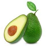 Verse groene rijpe avocado en plak Stock Afbeeldingen