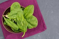 Verse groene spinaziebladeren in kom op servet Stock Fotografie