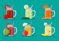 Verse groente en vruchtensapreeks vector illustratie