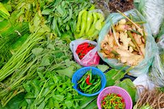 Verse groente gezet op banaanblad bij lokale markt Spaanse pepers of Peper, Zoet basilicum, die acacia, Lange boon, Pompoen, Lvy- royalty-vrije stock foto