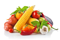 Verse groente met bladeren Stock Fotografie