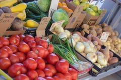 Verse groenten bij lokale landbouwersmarkt Stock Foto's