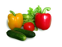 Verse groenten die op wit worden geïsoleerdr Stock Afbeelding