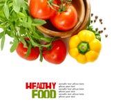 Verse groenten die op witte achtergrond worden geïsoleerdn Stock Foto