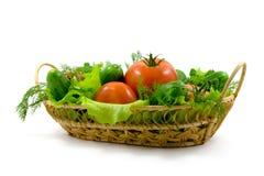 Verse groenten in een mand Stock Afbeelding