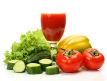 Verse groenten en sap stock foto