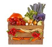 Verse groenten en vruchten in mand. stock foto
