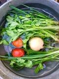 Verse groenten in het galmwater stock foto