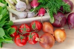 Verse groenten in houten doos op houten achtergrond stock afbeelding