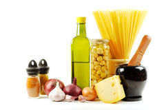 Verse groenten, kruid en olie royalty-vrije stock afbeelding