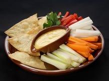 Verse groenten met saus Stock Afbeelding