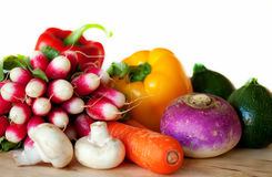 Verse groenten op de lijst Stock Afbeeldingen