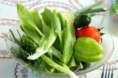 Verse groenten op de plaat Stock Foto