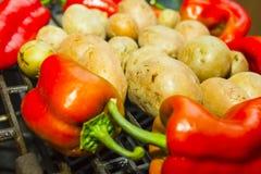 Verse groenten op een barbecue Royalty-vrije Stock Foto's